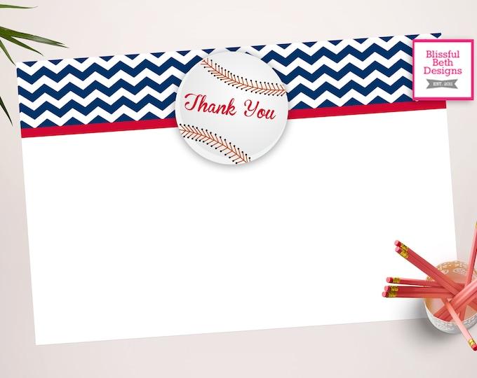 BASEBALL THANK YOU Baseball Printable Thank You Notes, Instant Download, Instant Baseball Thank You Note, Thank You Note, Baseball Note