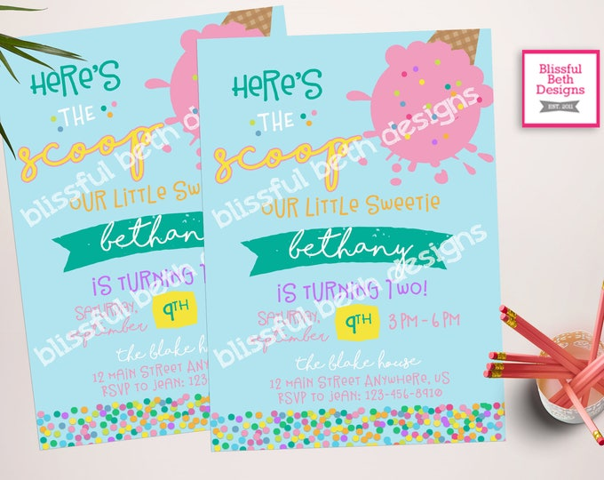 Ice Cream Birthday Invitation, Here's the Scoop Birthday Invitation, Printable Ice Cream Invitation, Here's the Scoop, Ice Cream Birthday