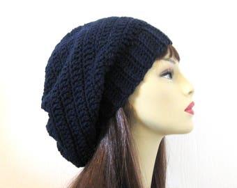 Dark Blue Slouch hat Navy Blue Crochet Slouchy Hat Oversized knit Slouch Hat Navy Blue Slouch Beret Blue Knit oversize Tam  Oversize  Beanie