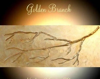 "SALE Original  abstract contemporary fine art ""Golden Branch"" textured impasto painting by Nicolette Vaughan Horner"