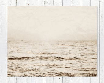 Rustic Home Decor Wall Art | Black + White Beach Photography | Ocean Photography | Coastal Art Print | Nautical Wall Decor | Horizon Sunrise