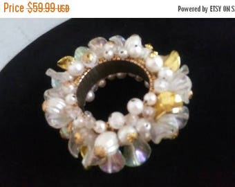 Now On Sale Vintage Cha Cha Bracelet, White & Gold Beaded Jewelry, 1950's 1960's Collectible Expandable Bracelet, Wedding Bridal Accessories
