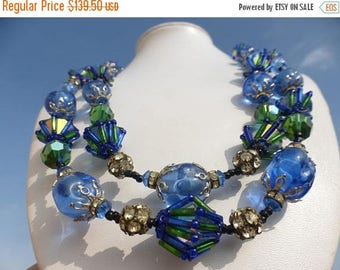 ON SALE Rare VENDOME Blue Glass & Rhinestone Beaded Necklace  1940s 1950s Art Deco Signed Jewelry High End Hard To Find Designer Jewelry