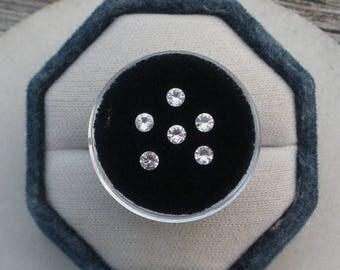 ON SALE 6 White Sapphire Round Gems 3mm each