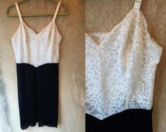 White LACE Black Sexy Negligee Lingeree Slip Dress