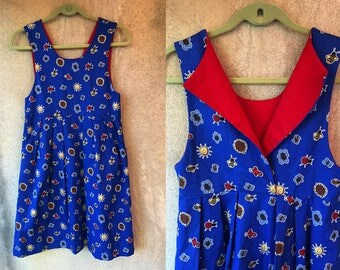 Blue Denim Red Collar Cute Sunshine Bee Butterfly Print Mini Jumper Dress