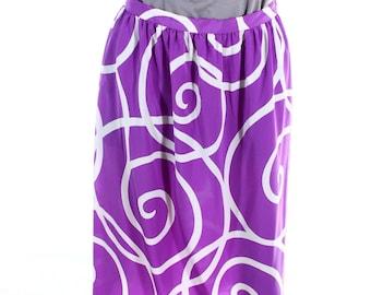 Vintage 80s Maggy Boutique Purple Swirly Lightweight Midi Skirt UK 10 US 8