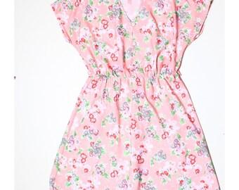 Vintage 80s Pink Floral Feminine Tea Dress UK 14 US 12