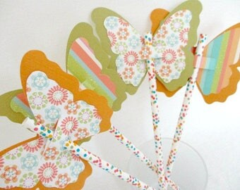 Butterfly Straw Favors Polka Dot Straws Party Favors Birthday Favors Cupcake Toppers Party Decoration Butterflies Die Cut Wedding Favors