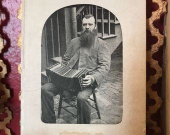 Real photo Gentleman w Beard and Squeezebox late 1800s to early 1900s photograph