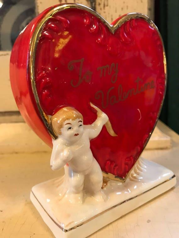 Kitschy Valentine Valentines Day Planter or Holder ~ Ceramic Red Heart