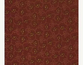 20 % off thru 7/4 moda fabric by 1/2 yard Kansas Troubles Quilters FAVORITES II-small TAN flowers on dark red  9034-12