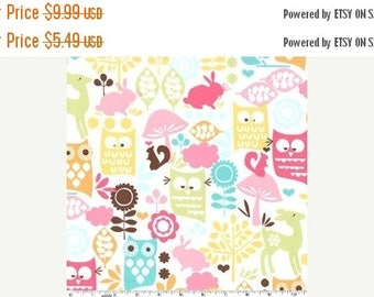20 % off thru 7/4 FOREST LIFE Michael Miller fabric 34 inches long- end of bolt cotton owls, deer, squirrels, rabbit