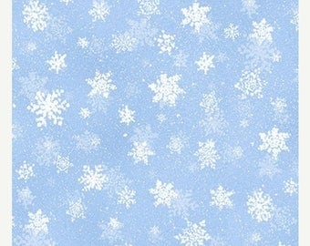 20 % off thru 7/4 QUIET BUNNY Noisy PUPPY~snow snowflakes on light blue winter  by the 1/2 yard Wilmington fabric-71631-411