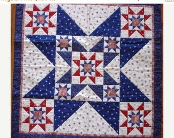 12% off thru July INSTRUCTIONS ONLY  STAR in a star in a star table topper Quilt pattern patriotic Christmas any time
