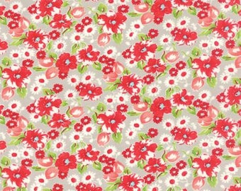 LITTLE RUBY  by the half yard Moda cotton quilt fabric Bonnie & Camille-55130-15 red pink white flowers on grey