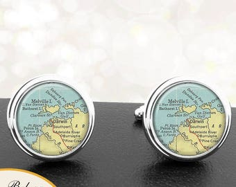 Map Cufflinks Darwin Australia Cuff Links for Groomsmen Groom Fiance Anniversary Wedding Party Fathers Dads Men