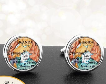 Map Cufflinks Kampala Uganda Central Africa Cuff Links for Groomsmen Groom Fiance Anniversary Wedding Party Fathers Dads Men
