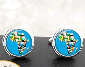 Map Cufflinks Flags of Africa African Continent Cuff Links for Groomsmen Groom Fiance Anniversary Wedding Fathers Dads Men