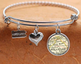 Bryn Mawr PA Map Charm Bracelet State of Pennsylvania Bangle Cuff Bracelet Vintage Map Jewelry Stainless Steel Bracelet