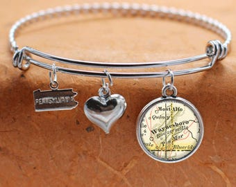 Waynesboro PA Map Charm Bracelet State of Pennsylvania Bangle Cuff Bracelet Vintage Map Jewelry Stainless Steel Bracelet
