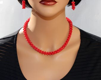 Handcrafted Natural Red Red Coral necklace and earrings. Delicate Feminine Elegant Minimalist Unique artisan holiday wedding bridemaids gift