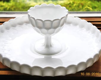 Fenton Milk Glass Chip and Dip in The Thumbprint Pattern