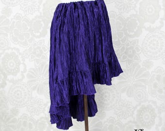 "Steampunk High Low Cecilia Skirt, Longer Length -- Purple Crinkle Taffeta -- Ready to Ship -- Best Fits Up To 48"" Waist"
