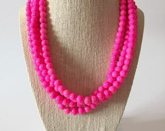 Neon Pink Chunky Statement Necklace