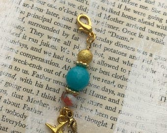 Out to Sea Gold Beaded Charm Dangle, Spine Charm, Planner Keychain, Purse Charm
