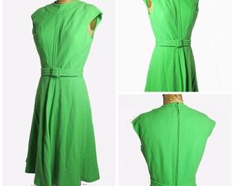 1950s Green Wool Dress