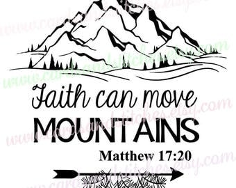 Mountains SVG - Religious SVG - Bible Verse Clipart - Digital Cutting File - Cricut Cut - Instant Download - Svg, Dxf, Jpg, Eps, Png