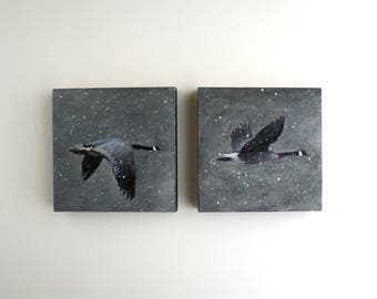 Flying Geese Diptych Painting