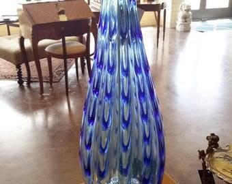ON SALE Vintage Murano Glass Lamp Flavio Poli Mid Century Design Large Blue Drapery Design