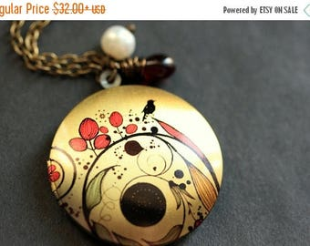 BACK to SCHOOL SALE Flourish Locket Necklace. Red Floral Necklace. Flourish Necklace with Black Teardrop and Pearl. Bronze Necklace. Handmad
