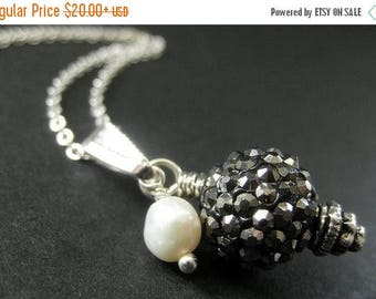 BACK to SCHOOL SALE Hematite Gray Kissing Ball Necklace. Dark Gray Necklace Rhinestone Necklace with Fresh Water Pearl. Handmade Jewelry.