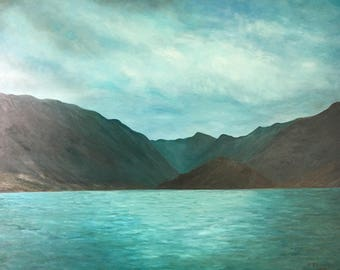 Large oil painting of lake como Italy is a lovely dreamscape original and one of a kind