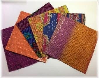 SIX 6x6 Kantha Quilt Charm Squares for Mixed Media, Boro Art and Fiber Arts