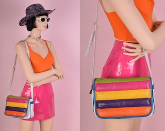 80s Colorful Striped Leather Purse/ 1980s
