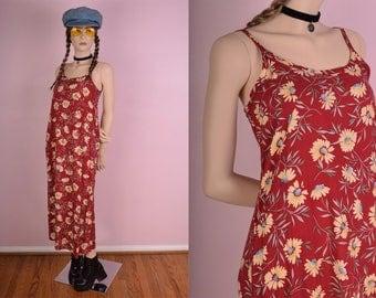 90s Floral Print Dress/ US 6/ 1990s/ Tank/ Sleeveless