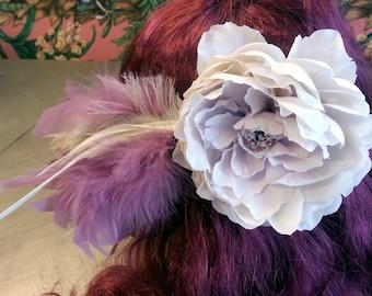 Purple Lavender Cream Peony Flower Feather Hair Clip Barrette