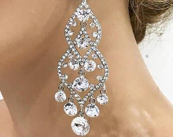 Wedding earrings, Bridal jewelry, Bridal earrings, Bridesmaids earrings, Hollywood jewelry, Great Gatsby earrings, Vintage inspired earrings