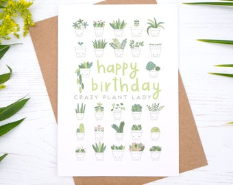 Crazy Plant Lady - Birthday Card - Crazy Plant Man - Plant lover - Happy birthday - Gift for gardeners - Houseplants - Succulents