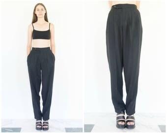 80s Pleated Black High Waist Pants / Tapered Trousers / 25 Waist