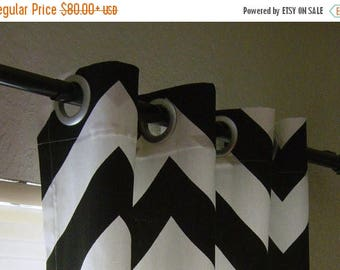 SALE Black White Chevron Curtains  Grommet Top  63 72 84 90 96 108 120 Long x 25 or 50 Wide