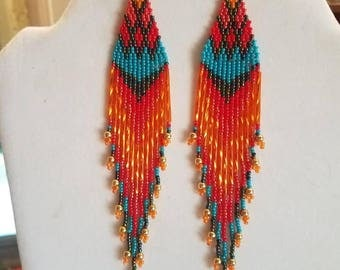 Native American Style Beaded Turquoise Flame Earrings Shoulder Duster 6 inch long Southwestern, Boho, Hippie Great Gift