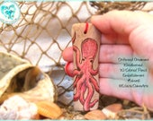 Pink Octopus Driftwood Art Ornament, Pyrography and Pencil, #DWOR6