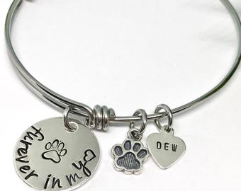 Dog Memorial Bangle Bracelet - Adjustable Memorial Bangle Bracelet - Pet Sympathy Gifts - Pet Loss Gift - Paw Print Gifts - The Charmed Wife