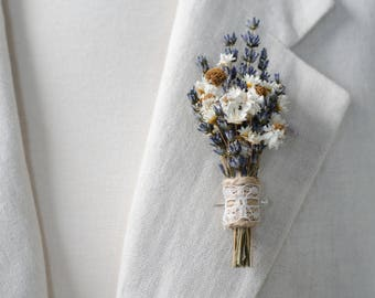 Lavender Daisy Boutonniere - Real Dried Flowers - Rustic Wedding Groom Accessory / Lapel Pin