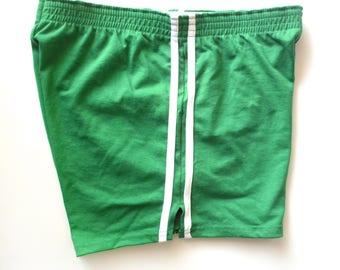 Vintage Signature Sportswear Gym Shorts, Green and White